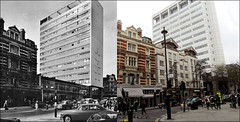 Upper St Martins Lane`1959-2017 (roll the dice) Tags: london westminster wc2 architecture streetfurniture old sad mad vanished demolished local history nostalgia bygone retro comparison oldandnew pastandpresent hereandnow traffic puvblichouse pub victorian boozer ale club beer uk art classic england urban canon tourism stringfellows coventgarden londonist thornemi bar grade2 listed subway trees fashion shops shopping fifties changes collection windows refurbishment offices taxi cab tourists