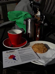Columbia blend and a biscuit outside, at Coffee Apothecary (MacP2007) Tags: biscuit coffee colmbianblend eggtimer
