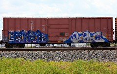 (o texano) Tags: uk by bench graffiti texas houston trains zee db elem freights rtd flyid cuate benching
