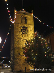 """The Clock Tower adorned with Christmas Ligths - Morpeth Northumberland England (WanderingPJB) Tags: img england northumberland morpeth christmas christmaslights lights 7dwf """"crazy tuesday theme"""" monument"""