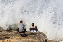 Making Waves (EightBitTony) Tags: ocean uk sea england people man male men water rock person seaside rocks unitedkingdom streetphotography wave human foam gb scarborough splash northyorkshire crashingwave