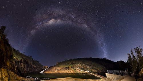 Milky Way over Serpentine Falls - Wide Panorama