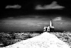 Guiding Light (Robert-Jan van Lotringen) Tags: longexposure travel sky lighthouse white black heritage abandoned monument clouds island mono ruins gloomy desert pov path bare spooky curacao lp wasteland antilles pharos ruim dutchantilles kleincuracao littlecuracao carbibbean