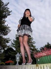 Upskirt (Paula Satijn) Tags: sexy stockings girl silver garden pumps dress legs skirt tgirl upskirt miniskirt gurl