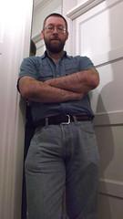 DSCF6686 (rugby#9) Tags: door shirt mirror belt jeans levis blackbelt whitedoor 501s denimshirt shortsleeveshirt levijeans levi501s 501jeans levi501 denimshortsleeveshirt