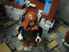 LoM UC: 1 (Micah the Fire-Breathing Hobbit) Tags: city roof horse statue wall soldier army riot hand lego stonework crowd medieval tudor cobblestone story fantasy hood cloak tale lom warg grueling