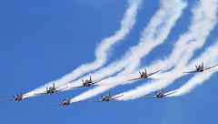 Birds of steel... (Michael Kalognomos) Tags: blue sky canon eos smoke airplanes trails athens airshow greece acrobatics 75300 vapour aerobatics fumes synchronization tatoi 70d
