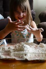 Messy Fun! (Vegan Butterfly) Tags: playing cute girl fun kid vegan hands funny child play mud adorable messy flour homeschool homeschooling sensory