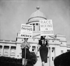 Segregationists protest outside Arkansas state capitol, 12 September 1959