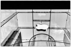 Apple Store on 5th Avevue, Manhattan (nianci pan) Tags: city nyc urban bw glass architecture stairs landscape store cityscape manhattan sony elevator 5thavenue applestore pan    sonyalphadslr sonyphotographing nuancing