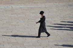 Ultra-orthodox jew walking near the Western Wall (Borja García de Sola Fernández) Tags: ultraorthodox jew eastjerusalem jewishquarter judaism shadows mobile wester westernwall