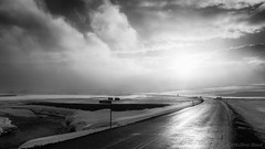 And it sure been a cold cold winter (OR_U) Tags: 2016 oru iceland landscape winter season snow sun wind storm road street clouds river ice cold therollingstones bw blackandwhite blackwhite schwarzweiss 169 widescreen
