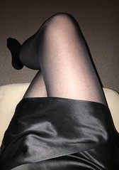 Silk slip and holdups (TVNicola & Mistress) Tags: black slip satin silk holdup tv sissy legs