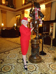 How Indecent! (Laurette Victoria) Tags: lady woman suit red hat laurette milwaukee pfisterhotel