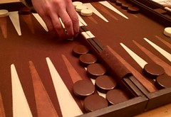 Passing the time on a snowed-in evening (Mark Bonica) Tags: gamble dice board game backgammon