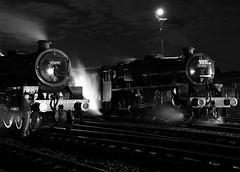 BH 52742crbw (kgvuk) Tags: barrowhill roundhouse engineshed railways trains steamtrain locomotive steamlocomotive steamengine nightphotography 45305 460 black5 5mt leander 45690 5xp jubileeclass