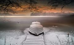 Winter (augustynbatko) Tags: winter lake boats snow ice nature landscape sky clouds outdoor jezioro łódki zima
