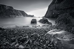 Man-O-War Bay, Dorset (Kevin Browne Photography) Tags: dorset mono jurassic coast long exposure black white peace manowar durdle door climb rocks steps pebbles beach seascape