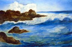 Ocean, by Gisel - DSC00617 (Dona Minúcia) Tags: art painting watercolor study paper nature landscape wave rock sky arte pintura aquarela mas sea onda pedra céu paisagem