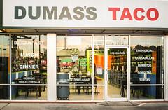 Fun with Grammar (wyojones) Tags: texas tomball dumasstacos possesive grammar rules z goodtacos sunset reflection window signs names wyojones np