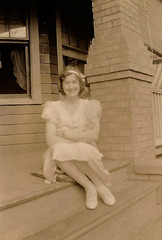 On the Steps (~ Lone Wadi ~) Tags: lady house residence frontporch lostphoto retro 1930s unknown