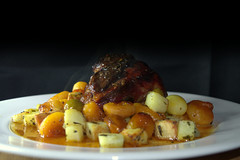 British Lamb Shank slow cooked in a blend of Moroccan spices with Olives, Apricots and Honey (Tony Worrall) Tags: add tag ©2016tonyworrall images photos photograff things uk england food foodie grub eat eaten taste tasty cook cooked iatethis foodporn foodpictures picturesoffood dish dishes menu plate plated made ingrediants nice flavour foodophile x yummy make tasted meal britishlambshankslowcookedinablendofmoroccanspiceswitholives apricotsandhoney