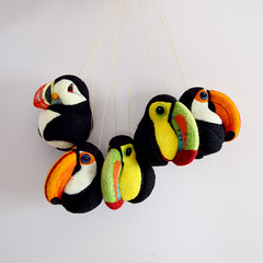 Toucans and Puffin, needle felted wool decors (Linda Brike) Tags: needlefelting needlefelted bird ornament decor homedecor ball arttoy collectable collectorsitem wool woolart woolroommate etsy lindabrike peacock budgie budgerigar finch toucan puffin conure greencheekconure sparrow grackle robin lovebird