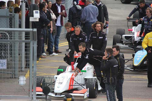 Ignazio D'Agosto heading for the grid for the first Renault 2.0 race at Silverstone 2015