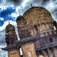 """Gol Gumbaz from Persian گل گنبذ meaning """"circular dome"""" is the mausoleum of Mohammed Adil Shah, Sultan of Bijapur. The tomb, located in Bijapur, Karnataka in India, was completed in 1656 by the architect Yaqut of Dabul. Although """"impressively simple in de (""""guerrilla"""" strategy) Tags: from travel india art by architecture photography was is persian tomb bluesky it architect mausoleum mohammed dome sultan karnataka completed tombs meaning although gol islamic shah 