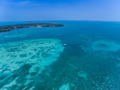 Southern end of the island Caye Caulker in Belize, aerial view