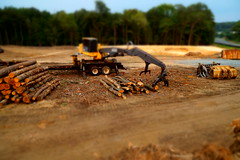 Small logging (Quik Snapshot) Tags: trees terrain brown tractor miniature sony logging dirt contruction slt johndeere tiltshift tamron18200mm slta58 smalllogging