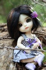Autumn had enough of the others' nonsense and went to play by herself. (AluminumDryad) Tags: trees sticks rocks doll purple buttons polkadots bjd freckles resin twigs suji balljointeddoll latidoll latiyellow tinybjd eventhead