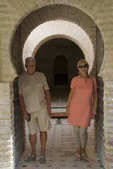 Linda and Alan and Moorish Arches, Alcazar de Jerez, Spain (Peter Cook UK) Tags: de spain arch arches moorish alcazar moors jerez horsehoe