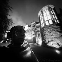 Statue (M1157812 E-M1 8mm iso800 f1.8 1s 1.3ev) (Mel Stephens) Tags: 20150915 201509 2015 aberdeen scotland uk night nighttime olympus omd em1 m43 microfourthirds mirrorless square sculpture structure bw black white mzuiko pro 8mm fisheye best f18 old very gps q3 monochrome mft 20152016