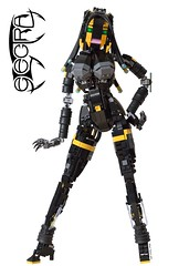 Electra (Arthuriel) Tags: lego moc electra figure figurine afol female android scifi logo character gynoid woman fembot whitebackground black yellow