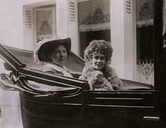 Christabel and Emmeline Pankhurst in Paris, c.1912.