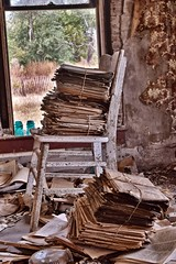 Someone has some reading nto catch up on. (slammerking) Tags: wallpaper house texture abandoned window newspaper chair decay creepy forgotten kansas peelingpaint bundle left insulator weatherd rurex