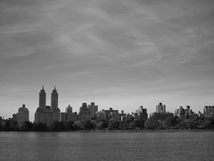 Central Park West skyline (amysh) Tags: nyc newyorkcity bw newyork skyline centralpark jacquelinekennedyonassisreservoir eastdrive olympuse420