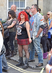 Black Widows... (Harleynik Rides Again.) Tags: people sexy girl kilt legs boots crowd streetlife redhead shortskirt blackwidows calnebikemeet harleynikridesagain