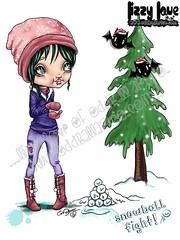 Snowball Fight! #8FINALWM (Lizzy Love ♥ Oddball Art Co.) Tags: santa christmas cute eye art love reindeer cards big holidays paintings hats creepy antlers elf fox kawaii greeting bats lizzy 2015 oddballart