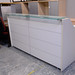 Large reception desk white laminate and glass