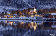 Rognan, Norway (AdelheidS photography) Tags: adelheidsphotography adelheidsmitt adelheidspictures norway norge noorwegen noruega norwegen norvegia rognan fjord northnorway arcticcircle church woodenchurch lights snow winter reflection barns canoneos6d sigma120400