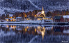Rognan, Norway (AdelheidS photography) Tags: adelheidsphotography adelheidsmitt adelheidspictures norway norge noorwegen noruega norwegen norvegia rognan fjord northnorway arcticcircle church woodenchurch lights snow winter reflection barns canoneos6d sigma120400