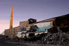 What A Beautiful Way to Die... As A Falling Star ([jonrev]) Tags: grayslake gelatin company factory plant manufacturing illinois railroad avenue wisconsin condensed milk demolition tear down demolish buildings facility brick smoke stack dark star 1974 starry midnight industrial ruins