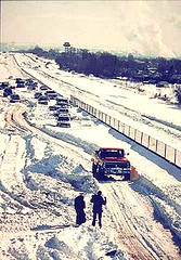 Cars abandoned on a Denver freeway during the Christmas Blizzard of 1982.