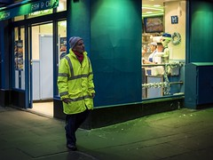 The Blue Lagoon (Leanne Boulton) Tags: urban street candid portrait streetphotography candidstreetphotography streetlife man male face facial expression look emotion feeling colorful colourful surreal green blue yellow bright hiviz working tone texture detail outdoor light shade shadow city scene human life living humanity society culture people canon 5d 5dmarkiii 50mm ef50mmf14usm color colour glasgow scotland uk