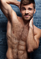 1286 (rrttrrtt555) Tags: hair hairy chest muscles beard stubble arms armpit flex attitude masculine dimples eyes ripped smile stare shoulders brick wall brickwall