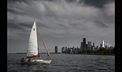 The Cares of This LIfe Can Wait Today (Whitney Lake) Tags: explored 35 chicago illinois lakemichigan sailboat water skyline theloop sky clouds