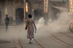 today I saw yesterday~ Shanghai (~mimo~) Tags: asia china filmstudio mimokhairphotography movie old shanghai songjiang woman fog smoke cinema 1930s period tram streetphotography