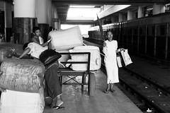 Squeezing By (anthonypond) Tags: burma bw myanmar railroadtracks trainstation mandalay